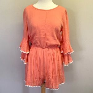 **Never worn** coral boutique romper